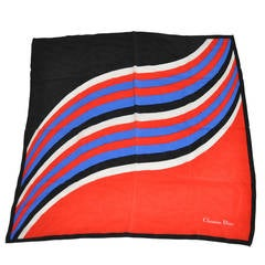 "Christian Dior Multi-Color ""Waves"" Silk Scarf"