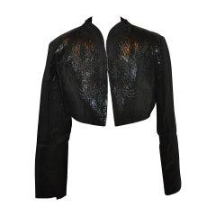 Pollini Black Lame-Brocade Blend Embroidered Evening Jacket