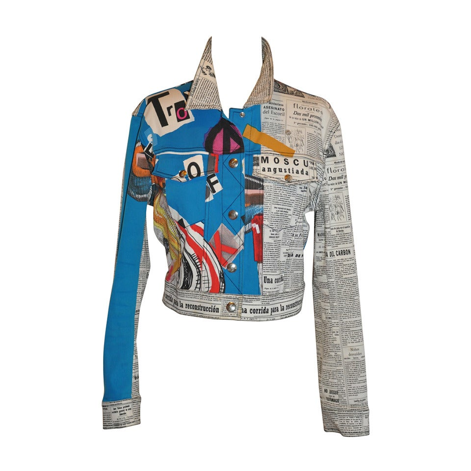 "John Galliano ""Newspaper & Graffitti"" Cropped Jacket For Sale"