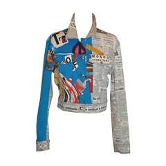 """John Galliano """"Newspaper & Graffitti"""" Cropped Jacket"""
