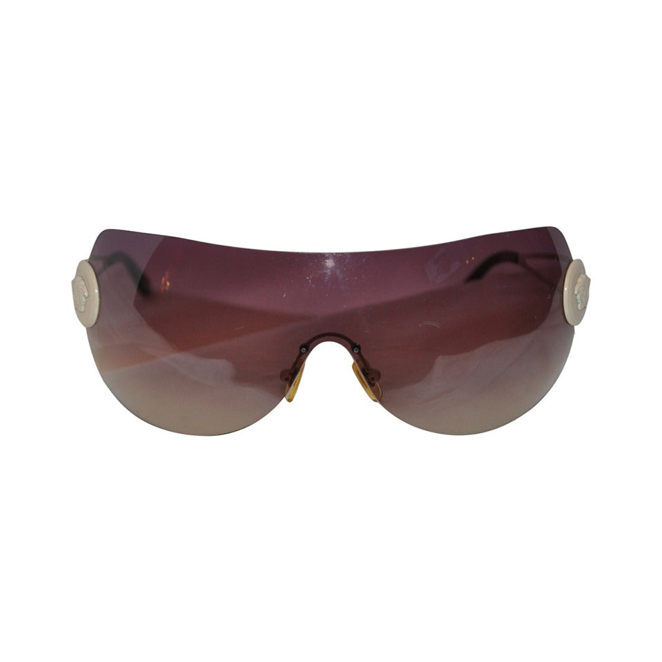 Versace Wrap-Around with White Hardware & Signature Logo Sunglasses