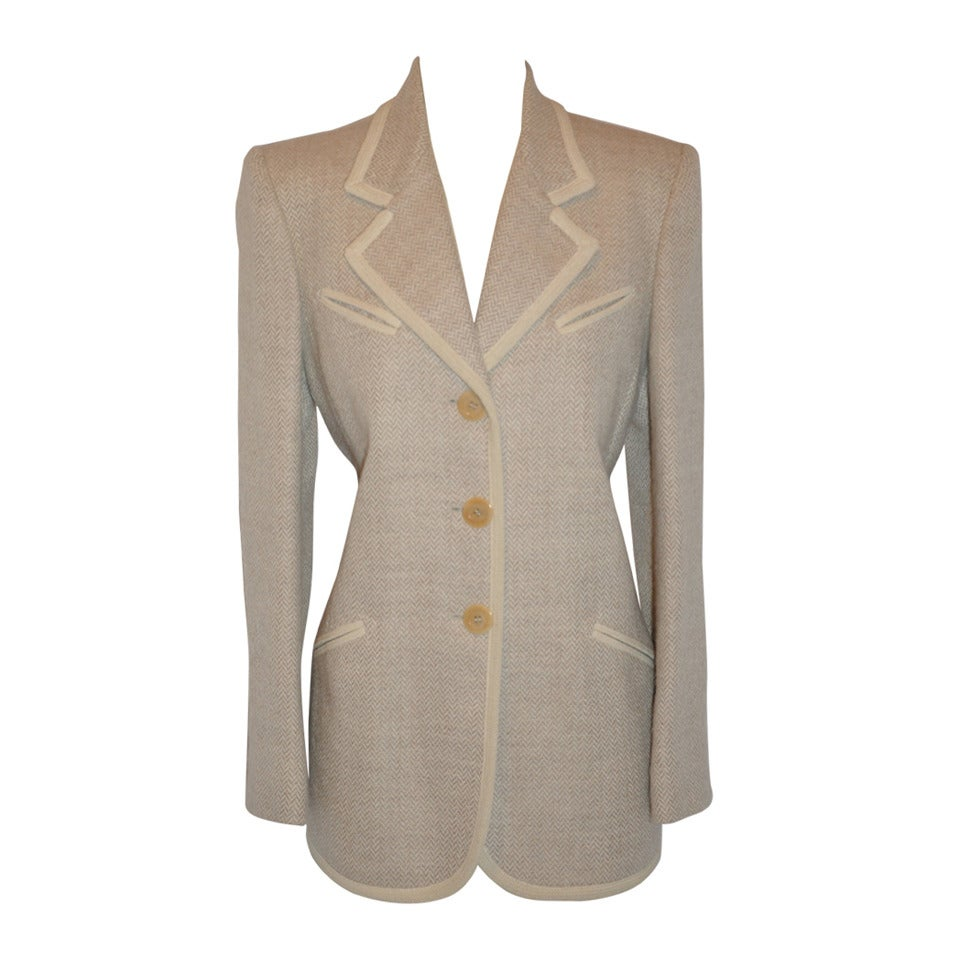 Ines de la Fressange Cream Lambswool and Angora Jacket