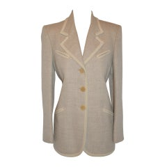 Ines de la Fressange Cream Lambswool and Angora Jacket