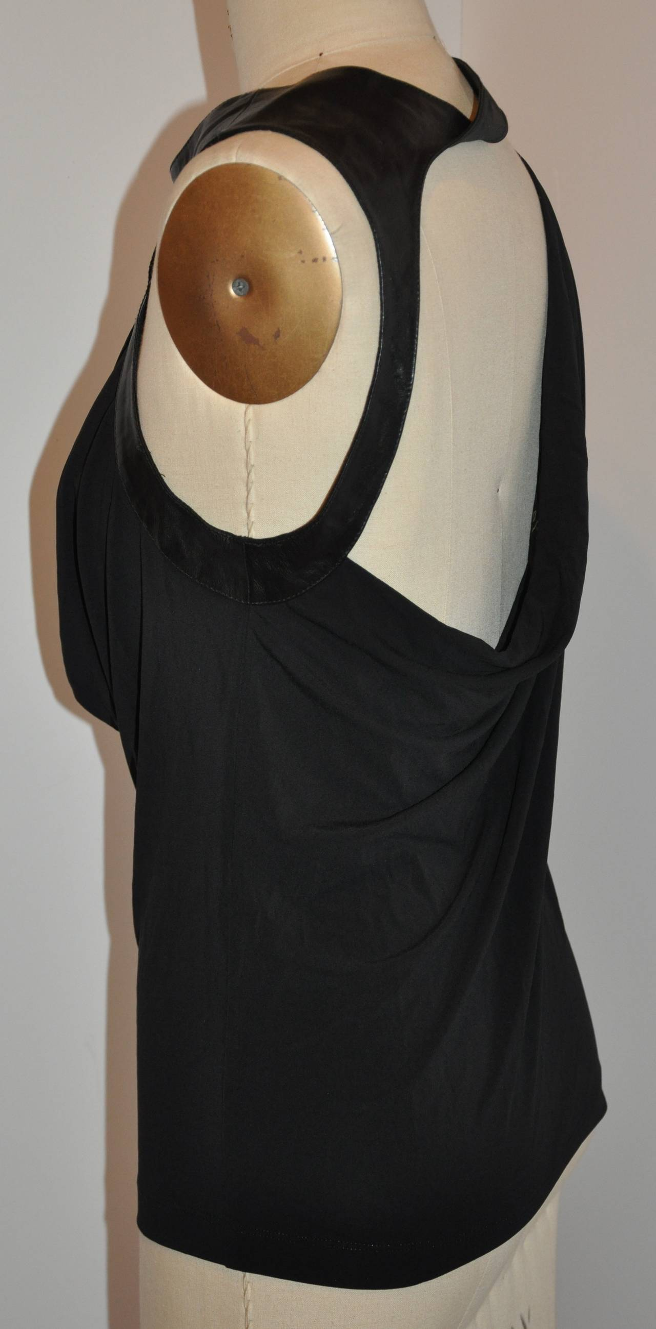 Faycalamor Black Silk Jersey Symmetrical Draped Evening Top with Leather 2