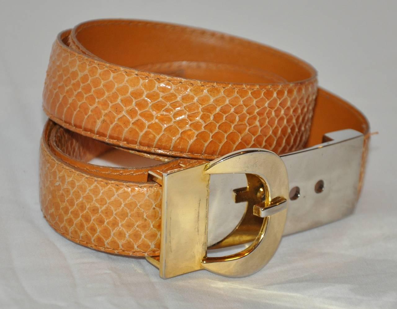 Christian Dior Mustard Yellow Snakeskin with Gold Hardware Adjustable Belt 2