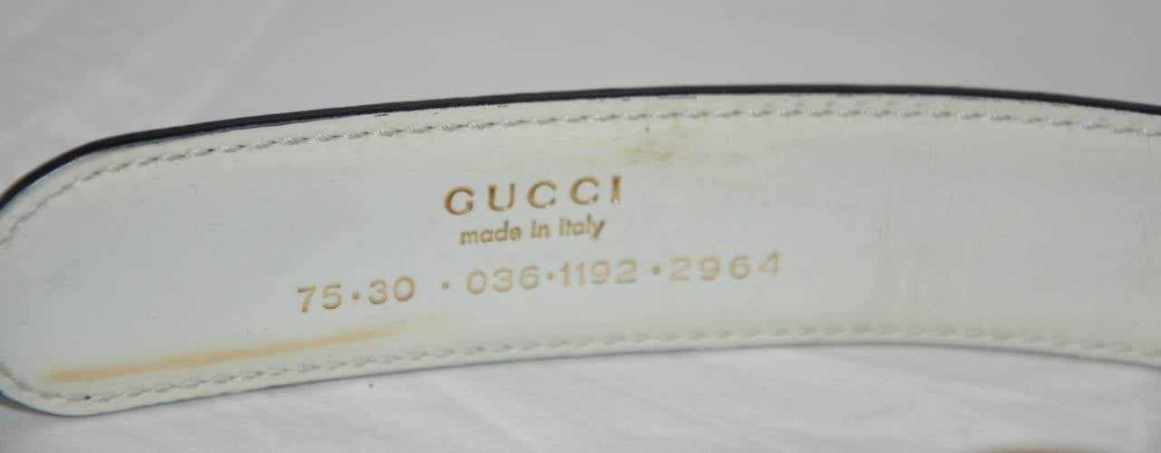 "Gucci Signature ""GG"" Gold Hardware with Black Calfskin Belt 2"