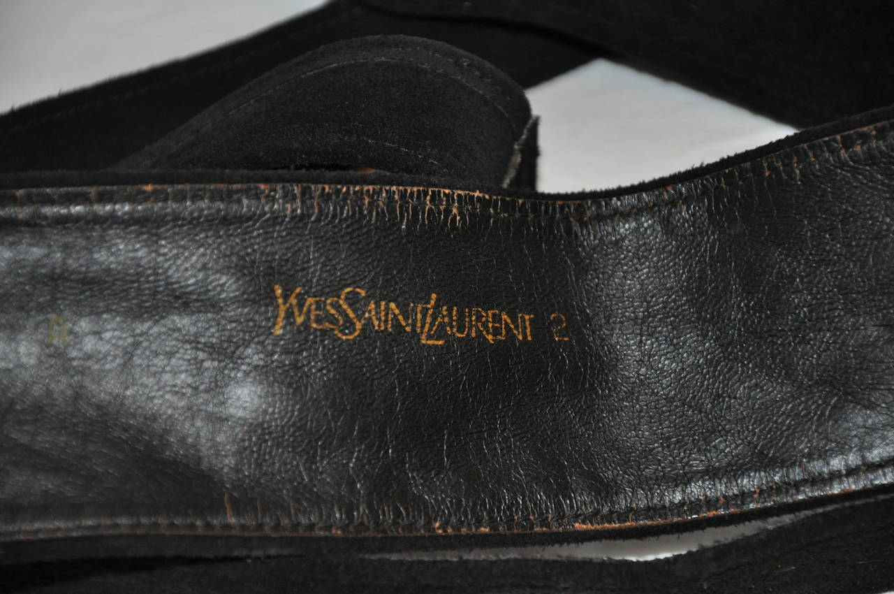 Yves Saint Laurent Double-Layer Black Suede Wrap Belt 3
