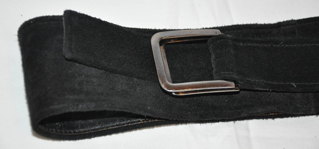 Yves Saint Laurent Double-Layer Black Suede Wrap Belt 4