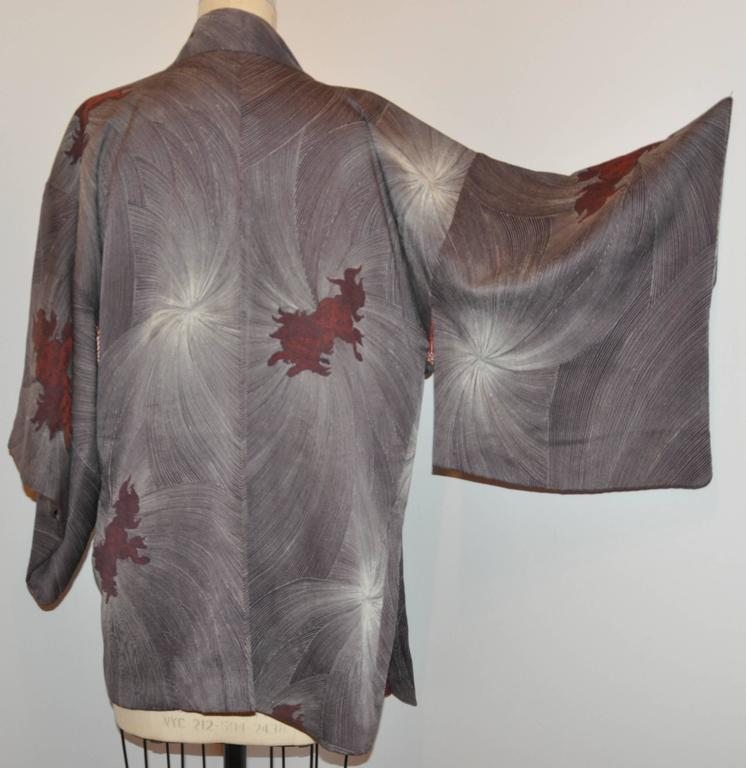 This wonderfully detailed lined silk kimono features