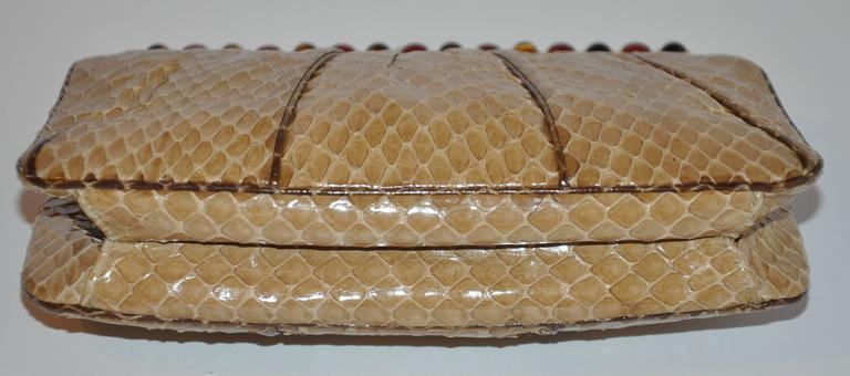 Judith Leiber Beige Python with Tiger's Eye and Garnet Stones Evening Bag In Good Condition For Sale In New York, NY