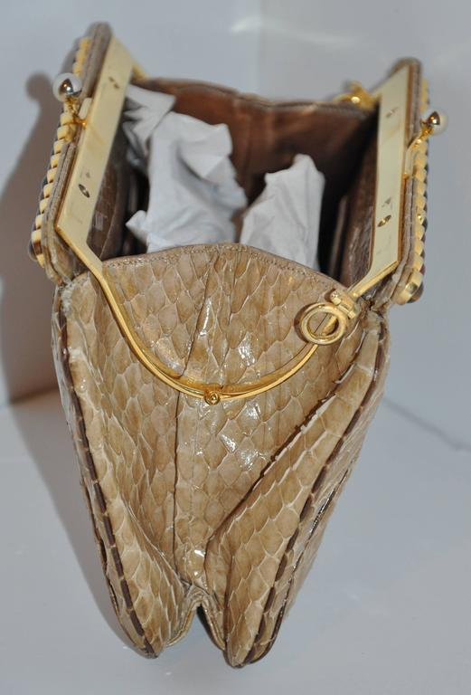 Women's Judith Leiber Beige Python with Tiger's Eye and Garnet Stones Evening Bag For Sale