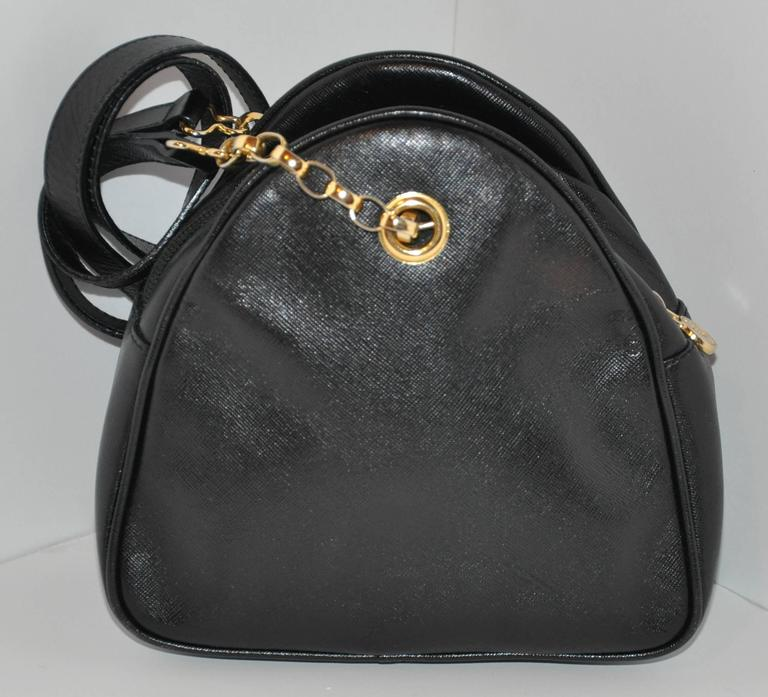 Women's Fendi Black Textured Calfskin with Gold Hardware Small Shoulder Bag For Sale