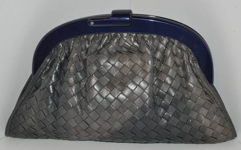 "Bottega Veneta ""Shades of Gray & Black"" Signature Woven Lambskin Clutch In Good Condition For Sale In New York, NY"