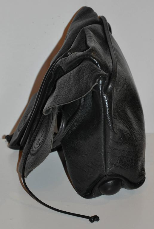 Carlos Falchi Signature Black Textured Calfskin Drawstring Shoulder Bag In Good Condition For Sale In New York, NY