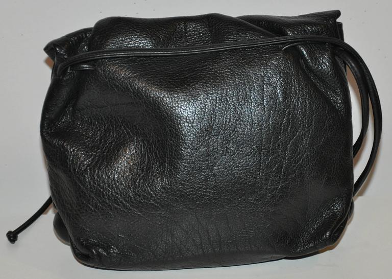 Women's Carlos Falchi Signature Black Textured Calfskin Drawstring Shoulder Bag For Sale