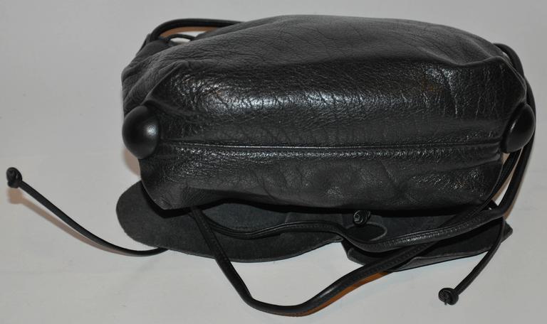 Carlos Falchi Signature Black Textured Calfskin Drawstring Shoulder Bag For Sale 1