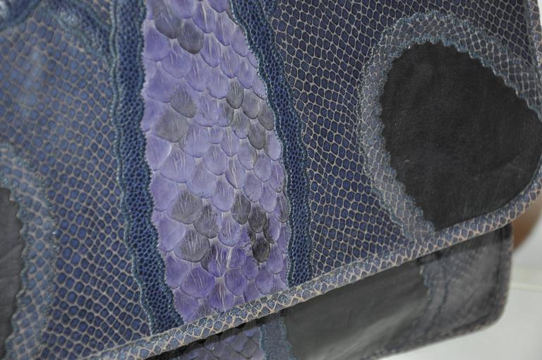 Women's or Men's Rare Carlos Falchi Multi-Skins Multi-Color Large Shoulder Bag & Clutch For Sale