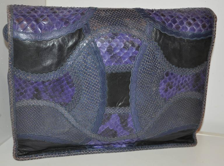 Rare Carlos Falchi Multi-Skins Multi-Color Large Shoulder Bag & Clutch For Sale 2