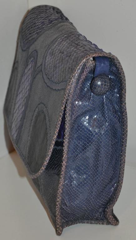 Rare Carlos Falchi Multi-Skins Multi-Color Large Shoulder Bag & Clutch For Sale 1