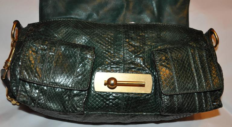 Escada Forest Green Lizard Skin Shoulder Bag With Removable Straps P1vBAmN