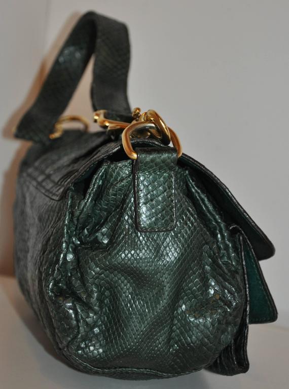 Black Escada Forest Green Lizard Skin Shoulder Bag With Removable Straps For