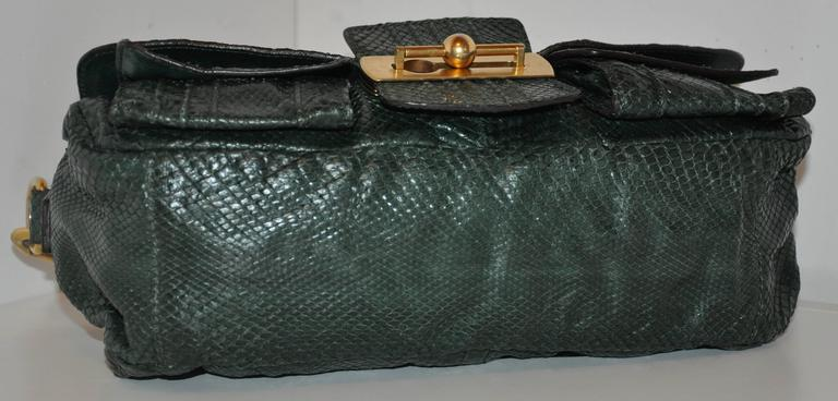 Escada Forest Green Lizard Skin Shoulder Bag With Removable Straps 2mqp8nXnGX