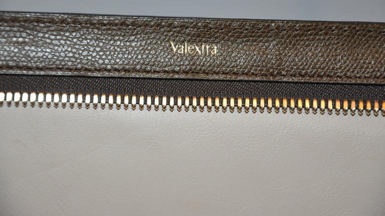Valextra Large Textured Brown Calfskin Zippered Handbag  5