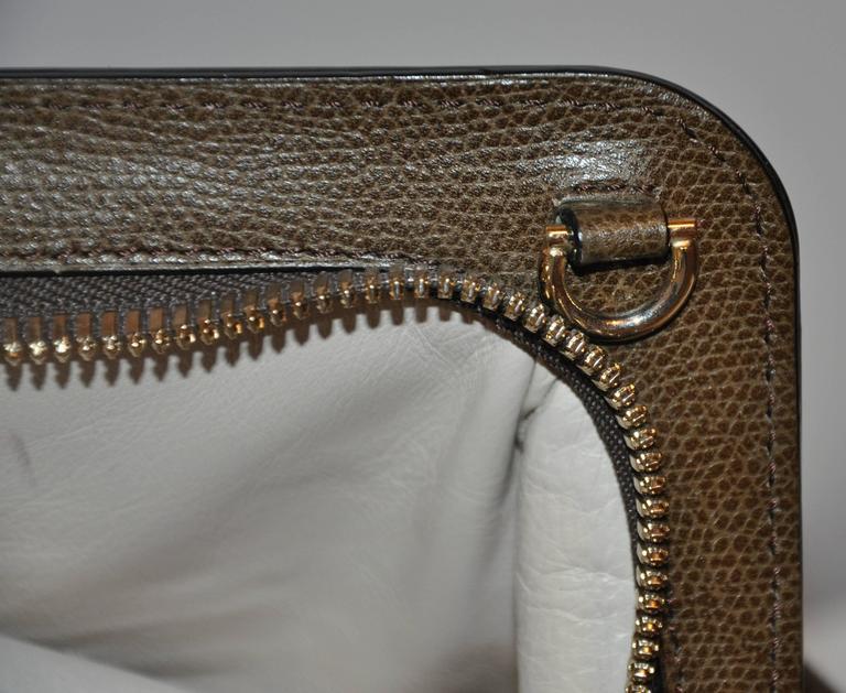Valextra Large Textured Brown Calfskin Zippered Handbag  6