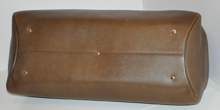 Valextra Large Textured Brown Calfskin Zippered Handbag  4