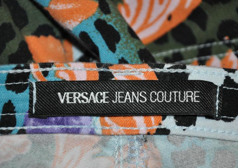 Gianni Versace Bold Multi-Color Leopard with Floral Print Stretch Jeans 3