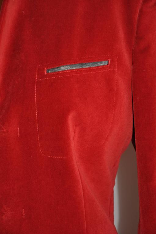 Jean Paul Gaultier Crimson Red Brushed Velvet Jacket In Good Condition For Sale In New York, NY