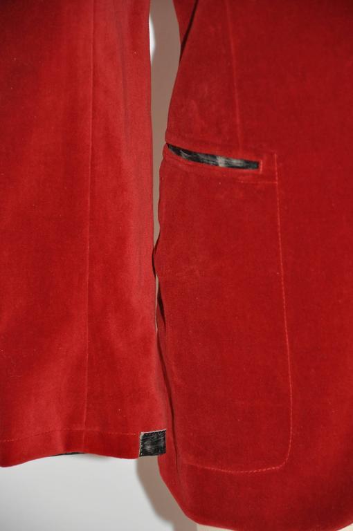 Women's Jean Paul Gaultier Crimson Red Brushed Velvet Jacket For Sale