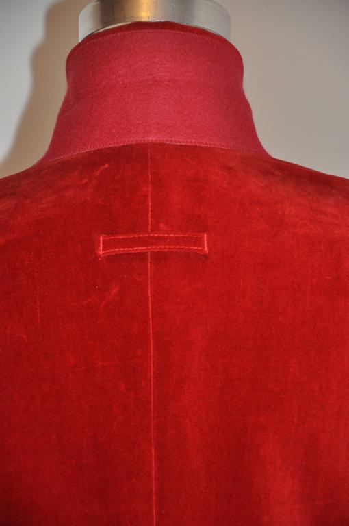 Jean Paul Gaultier Crimson Red Brushed Velvet Jacket For Sale 1