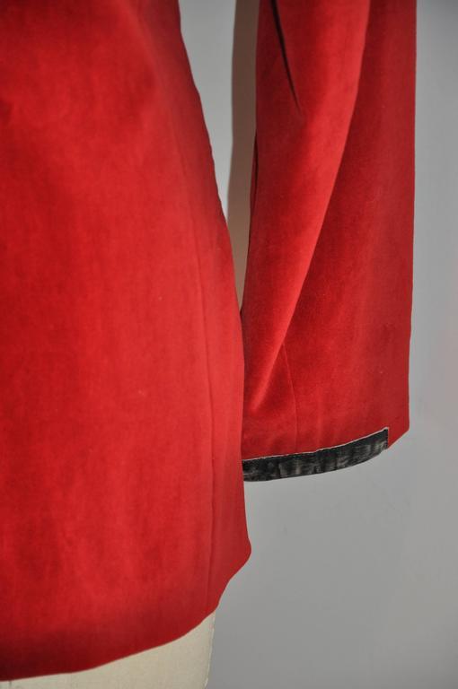 Jean Paul Gaultier Crimson Red Brushed Velvet Jacket For Sale 2