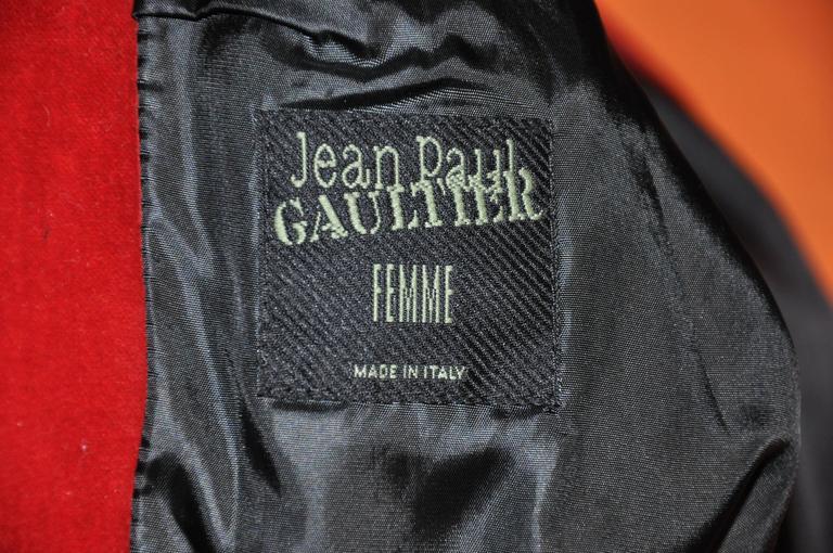 Jean Paul Gaultier Crimson Red Brushed Velvet Jacket For Sale 3