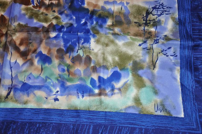 "Vera Multi-Hues with Navy & Blue Border ""Country Scenes"" Silk Scarf 3"