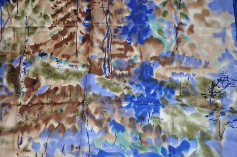 "Vera Multi-Hues with Navy & Blue Border ""Country Scenes"" Silk Scarf 4"