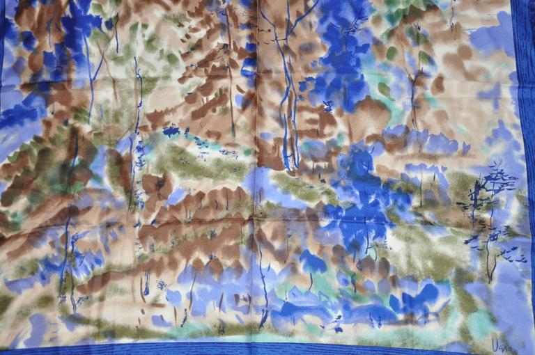 "Vera Multi-Hues with Navy & Blue Border ""Country Scenes"" Silk Scarf 5"