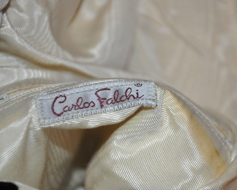 Beige Carlos Falchi Cream & Black Faux Fur Crossover Shoulder Bag For Sale