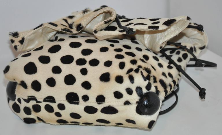 Women's or Men's Carlos Falchi Cream & Black Faux Fur Crossover Shoulder Bag For Sale