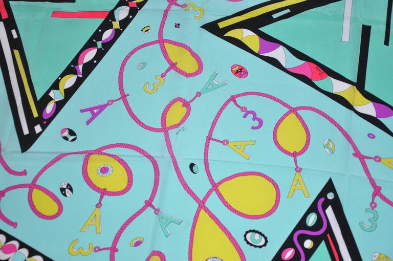 Emilio Pucci for A Bold Multi-Color Abstract Silk Scarf For Sale 1