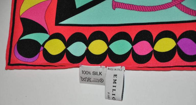 Emilio Pucci for A Bold Multi-Color Abstract Silk Scarf In Excellent Condition For Sale In New York, NY