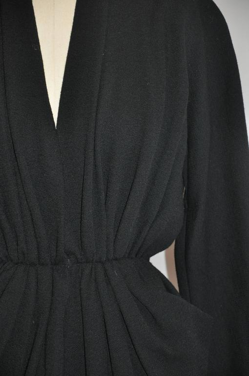 "Donna Karan Iconic Signature ""Sold Out"" Black Wool Crepe Jersey Dress For Sale 3"