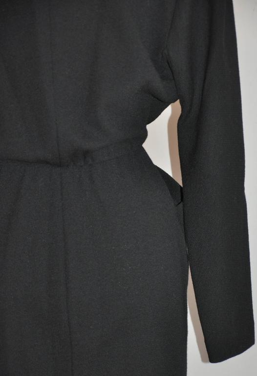 "Donna Karan Iconic Signature ""Sold Out"" Black Wool Crepe Jersey Dress For Sale 4"