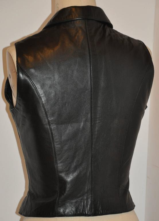 Michael Hoban/North Beach Leather Black Lambskin Zipper Vest Top 2