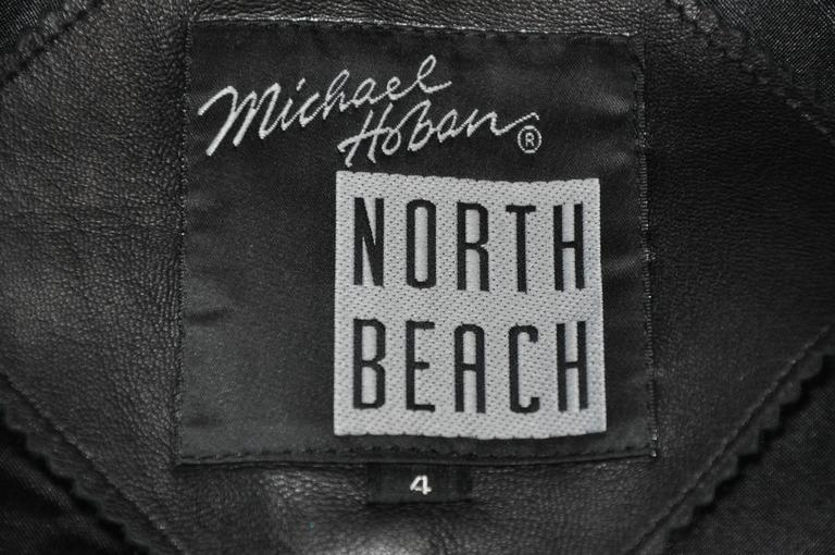Michael Hoban/North Beach Leather Black Lambskin Zipper Vest Top 3