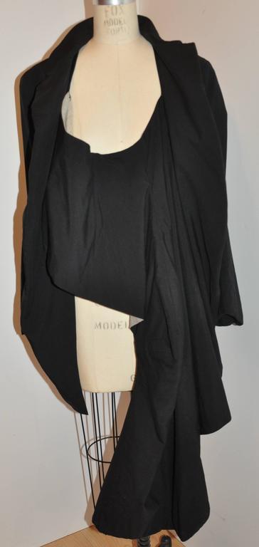 Women's or Men's Rare Comme des Garcon Black Deconstructed Draped Jacket For Sale
