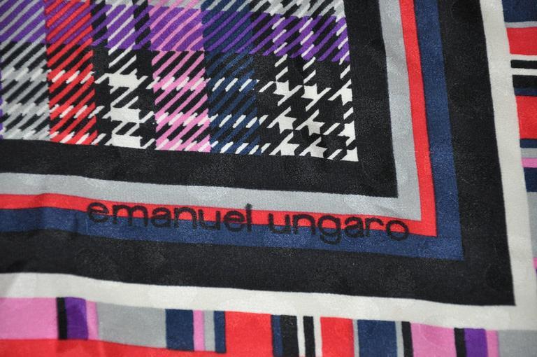 Emanuel Ungaro wonderful bold multi-colors of multi-plaid silk scarf measures 34