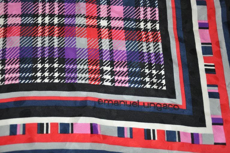 Black Emanuel Ungaro Bold Multi-Plaid Silk Scarf For Sale