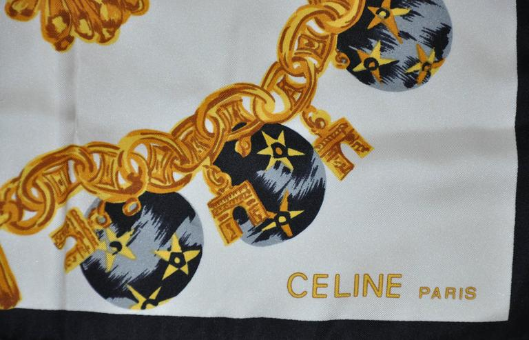 "Celine wonderfully detailed signature multi-color silk scarf measures 34"" x 34"" with finished hand-rolled edges, made in Italy."